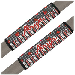 Ladybugs & Stripes Seat Belt Covers (Set of 2) (Personalized)