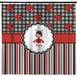 Ladybugs & Stripes Shower Curtain (Personalized)