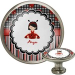 Ladybugs & Stripes Cabinet Knob (Silver) (Personalized)