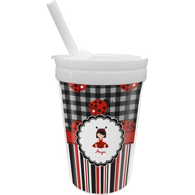 Ladybugs & Stripes Sippy Cup with Straw (Personalized)