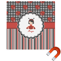 Ladybugs & Stripes Square Car Magnet (Personalized)