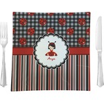 "Ladybugs & Stripes Glass Square Lunch / Dinner Plate 9.5"" - Single or Set of 4 (Personalized)"