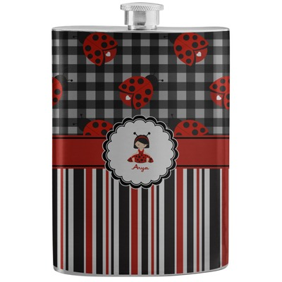 Ladybugs & Stripes Stainless Steel Flask (Personalized)