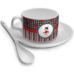 Ladybugs & Stripes Tea Cup - Single (Personalized)