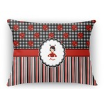 Ladybugs & Stripes Rectangular Throw Pillow (Personalized)