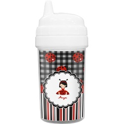Ladybugs & Stripes Toddler Sippy Cup (Personalized)