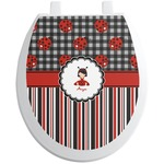 Ladybugs & Stripes Toilet Seat Decal (Personalized)