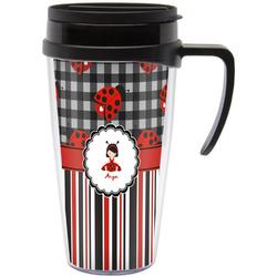 Ladybugs & Stripes Travel Mug with Handle (Personalized)