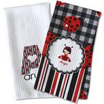 Ladybugs & Stripes Waffle Weave Kitchen Towel (Personalized)