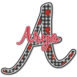 Ladybugs & Stripes Name & Initial Decal - Custom Sized (Personalized)