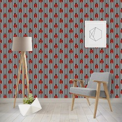 Ladybugs & Stripes Wallpaper & Surface Covering