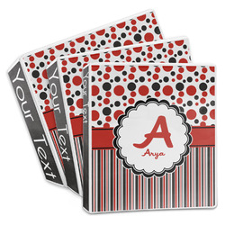 Red & Black Dots & Stripes 3-Ring Binder (Personalized)