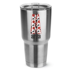 Red & Black Dots & Stripes 30 oz Silver Stainless Steel Tumbler w/Full Color Graphics (Personalized)