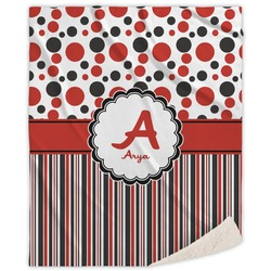 Red & Black Dots & Stripes Sherpa Throw Blanket (Personalized)