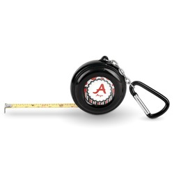 Red & Black Dots & Stripes Pocket Tape Measure - 6 Ft w/ Carabiner Clip (Personalized)