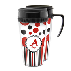Red & Black Dots & Stripes Acrylic Travel Mugs (Personalized)