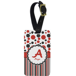 Red & Black Dots & Stripes Aluminum Luggage Tag (Personalized)