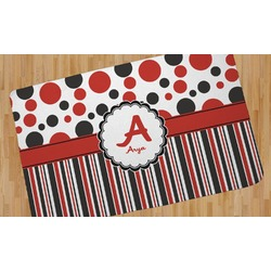 Red & Black Dots & Stripes Area Rug (Personalized)