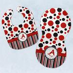 Red & Black Dots & Stripes Baby Bib & Burp Set w/ Name and Initial