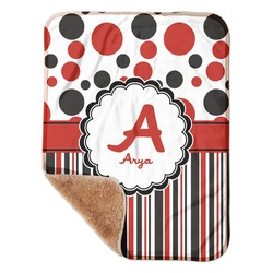 "Red & Black Dots & Stripes Sherpa Baby Blanket 30"" x 40"" (Personalized)"