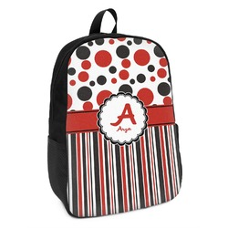 Red & Black Dots & Stripes Kids Backpack (Personalized)