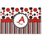 Red & Black Dots & Stripes Woven Mat (Personalized)