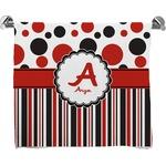 Red & Black Dots & Stripes Full Print Bath Towel (Personalized)