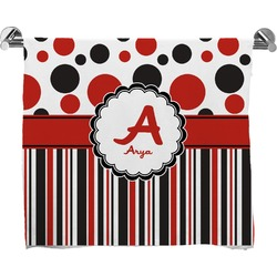 Red & Black Dots & Stripes Full Print Bath Towel (Personalized)