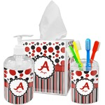 Red & Black Dots & Stripes Bathroom Accessories Set (Personalized)
