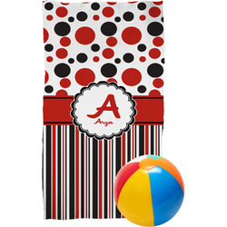 Red & Black Dots & Stripes Beach Towel (Personalized)
