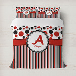 Red & Black Dots & Stripes Duvet Cover (Personalized)