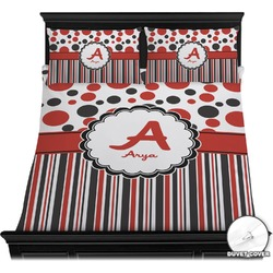 Red & Black Dots & Stripes Duvet Cover Set (Personalized)
