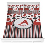 Red & Black Dots & Stripes Comforters (Personalized)
