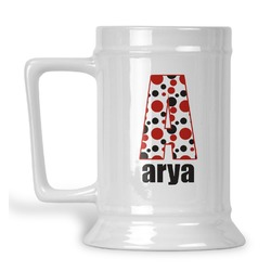 Red & Black Dots & Stripes Beer Stein (Personalized)