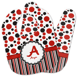 Red & Black Dots & Stripes Baby Bib w/ Name and Initial