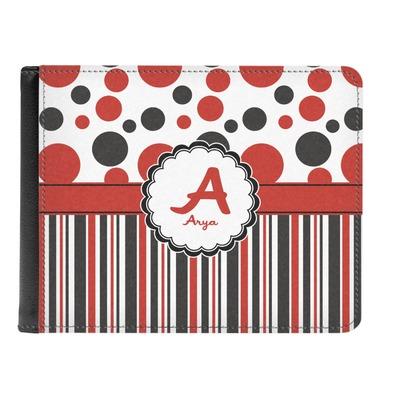 Red & Black Dots & Stripes Genuine Leather Men's Bi-fold Wallet (Personalized)