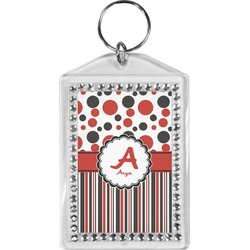 Red & Black Dots & Stripes Bling Keychain (Personalized)