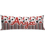 Red & Black Dots & Stripes Body Pillow Case (Personalized)