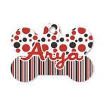 Red & Black Dots & Stripes Bone Shaped Dog Tag (Personalized)