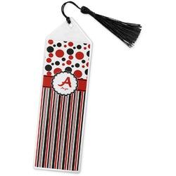 Red & Black Dots & Stripes Book Mark w/Tassel (Personalized)