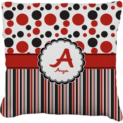 """Red & Black Dots & Stripes Faux-Linen Throw Pillow 26"""" (Personalized)"""