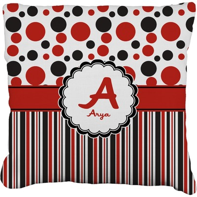 Red & Black Dots & Stripes Faux-Linen Throw Pillow (Personalized)