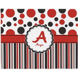Red & Black Dots & Stripes Placemat (Fabric) (Personalized)