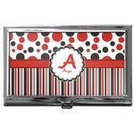Red & Black Dots & Stripes Business Card Case