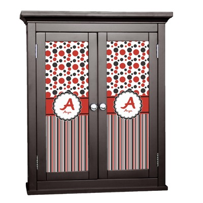Red & Black Dots & Stripes Cabinet Decal - Small (Personalized)