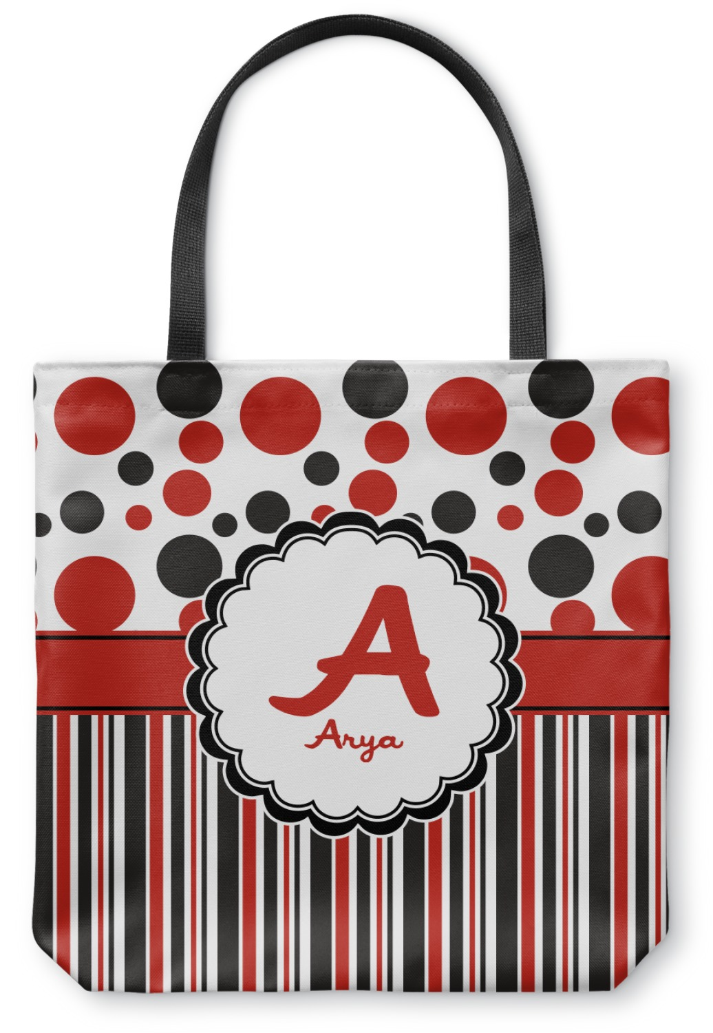 f8f06bff1 Red & Black Dots & Stripes Canvas Tote Bag (Personalized ...