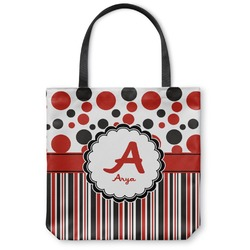 Red & Black Dots & Stripes Canvas Tote Bag (Personalized)