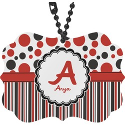 Red & Black Dots & Stripes Rear View Mirror Decor (Personalized)