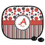 Red & Black Dots & Stripes Car Side Window Sun Shade (Personalized)