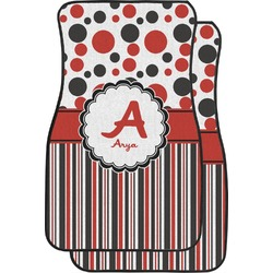 Red & Black Dots & Stripes Car Floor Mats (Front Seat) (Personalized)